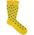 Richard James - Polka-Dot Merino Wool-Blend Socks