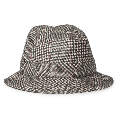 Borsalino Prince Of Wales Check Wool-Blend Fedora