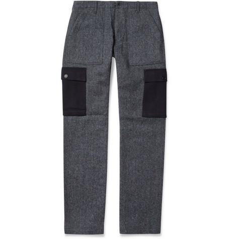 Woolrich Woolen Mills Fatigue Wool-Blend Herringbone Cargo Trousers
