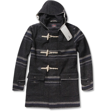 Woolrich Woolen Mills Striped Wool-Blend Duffle Coat