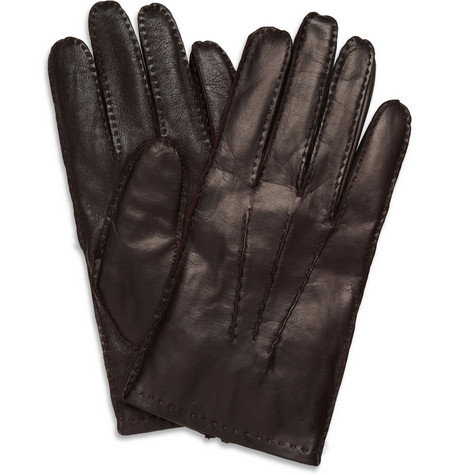 Dents Touch Screen Cashmere-Lined Leather Gloves