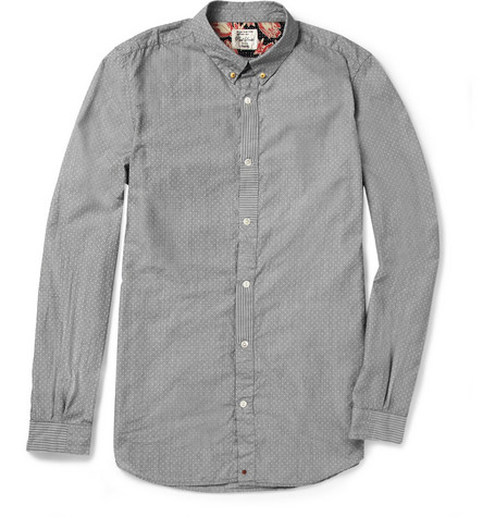 Red Ear Slim-Fit Swiss-Dot Cotton Shirt