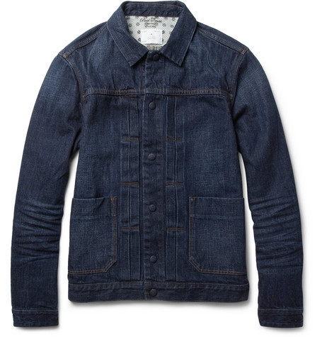 Red Ear Slim-Fit Washed-Denim Jacket