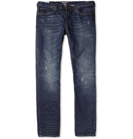 Red Ear Distressed Slim-Fit Jeans