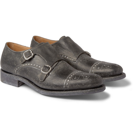 O'Keeffe Manach Washed-Leather Monk-Strap Brogues