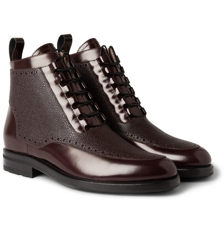 Mr. Hare Freud Textured-Panel Leather Boots