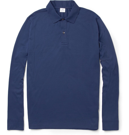 Sunspel Long-Sleeved Cotton Polo Shirt