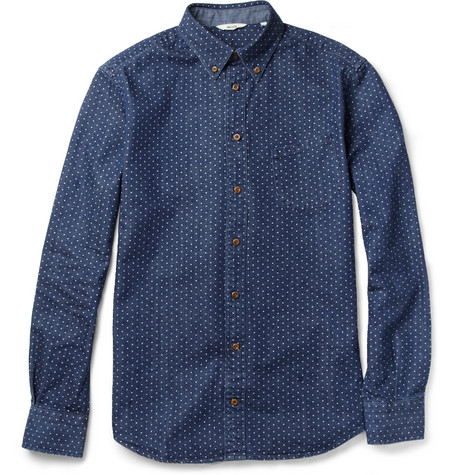 NN.07 Chivas Dot-Print Cotton-Twill Shirt