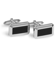Lanvin Silver-Plated and Onyx T-Bar Cufflinks