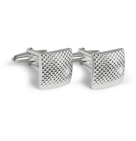 Lanvin Engraved Silver-Plated T-Bar Cufflinks
