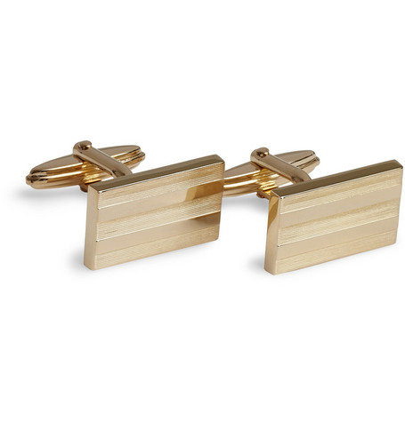Lanvin Ribbed Gold-Plated T-Bar Cufflinks