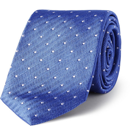Turnbull & Asser Herringbone and Polka-Dot Silk Tie