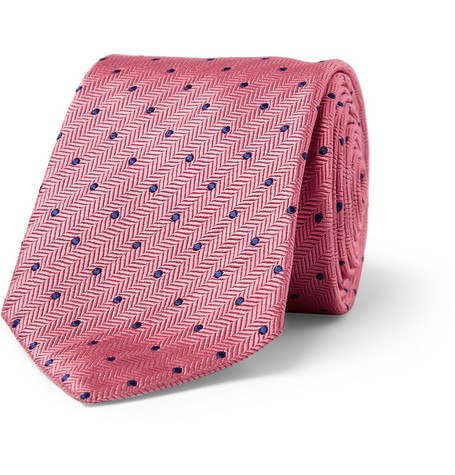 Turnbull & Asser Herringbone Woven-Silk Polka-Dot Tie