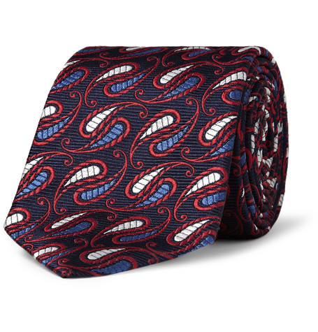 Turnbull & Asser Patterned Paisley Woven-Silk Tie