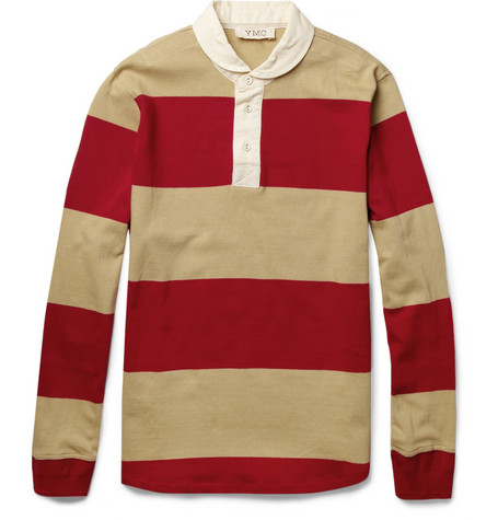 YMC Striped Cotton-Jersey Rugby Shirt