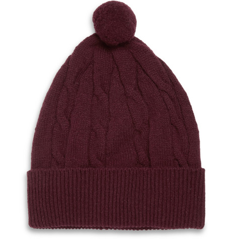 YMC Cable-Knit Lambswool Beanie Hat