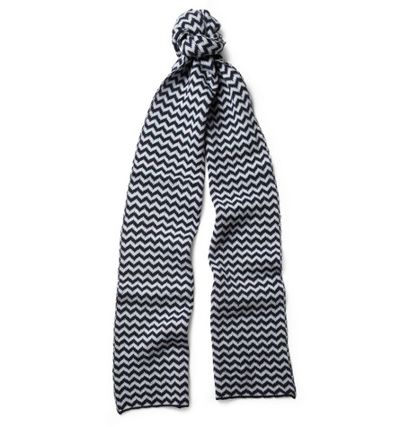 YMC Chevron-Knit Wool Scarf