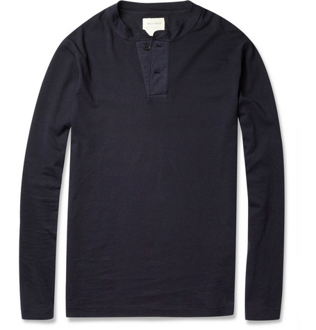 Billy Reid Long-Sleeved Cotton-Jersey Henley T-Shirt