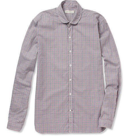 Oliver Spencer Eton Collar Check Cotton Shirt