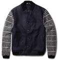 Oliver Spencer Fair Isle-Sleeved Wool-Blend Bomber Jacket