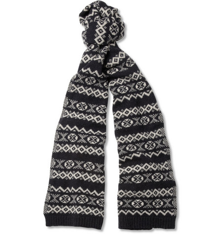 Oliver Spencer Fair Isle Lambswool-Blend Scarf