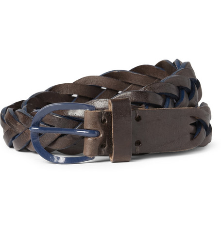 Oliver Spencer Two-Tone Woven-Leather Belt