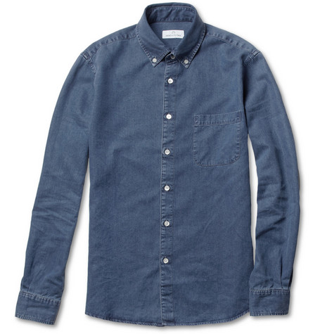 Hentsch Man Lightweight Brushed-Denim Shirt