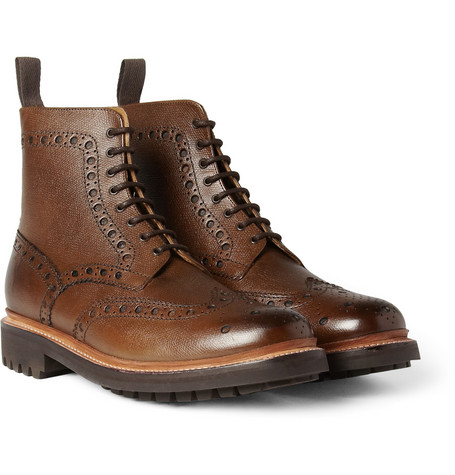 Grenson Fred Textured-Leather Brogue Boots