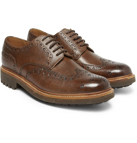 Grenson Archie Textured-Leather Wingtip Brogues