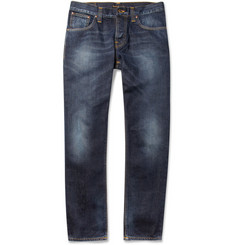 Nudie Jeans Average Joe Straight-Leg Washed-Denim Jeans