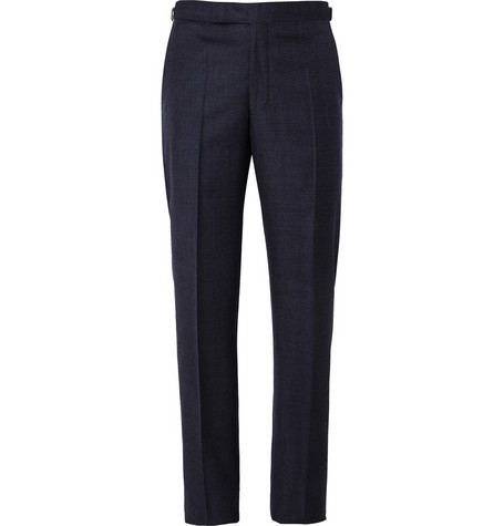 Richard James Navy Relaxed-Fit Wool Suit Trousers