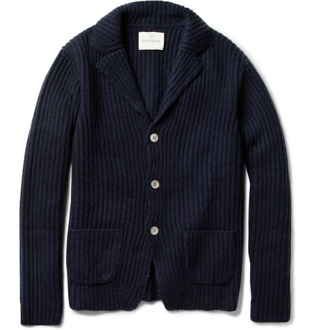 Hartford Ribbed Wool and Cashmere-Blend Cardigan