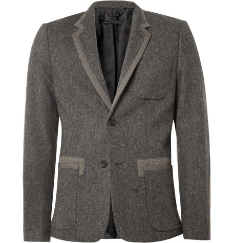 Marc by Marc Jacobs Yelena Herringbone-Panelled Wool and Angora-Blend Blazer