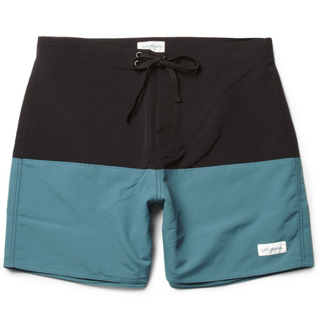 Saturdays Surf NYC Ennis Mid-Length Two-Tone Swim Shorts