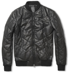 Lot78 Quilted Leather Bomber Jacket