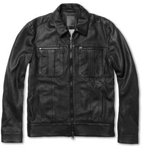 Lot78 Slim-Fit Collared Leather Jacket