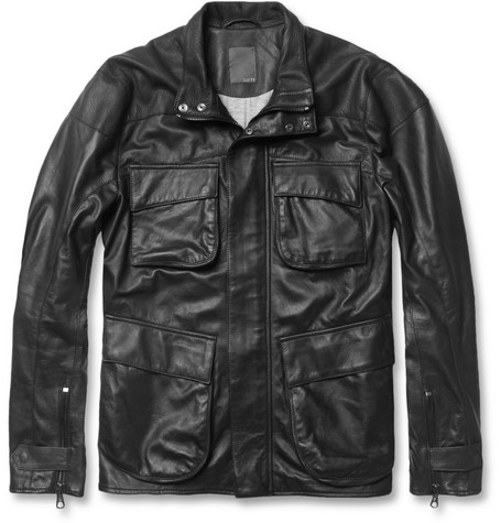 Lot78 Slim-Fit Leather Motorcycle Jacket