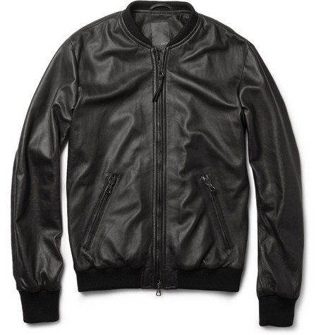 Lot78 Tumbled-Leather Bomber Jacket
