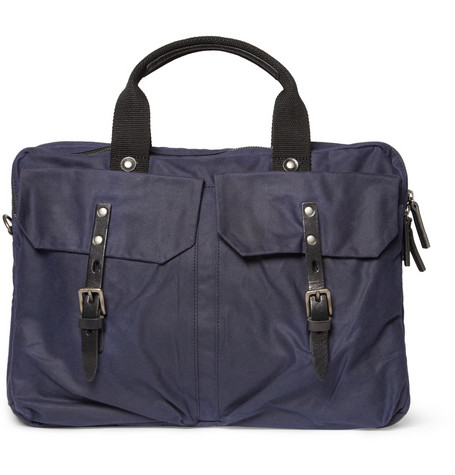 Ally Capellino Robert Waxed-Cotton and Leather Briefcase