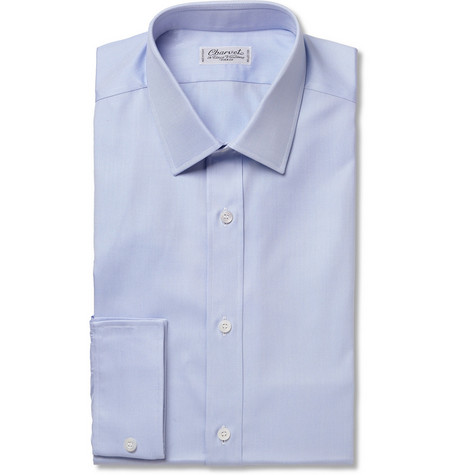 Charvet Blue Cotton Oxford Shirt
