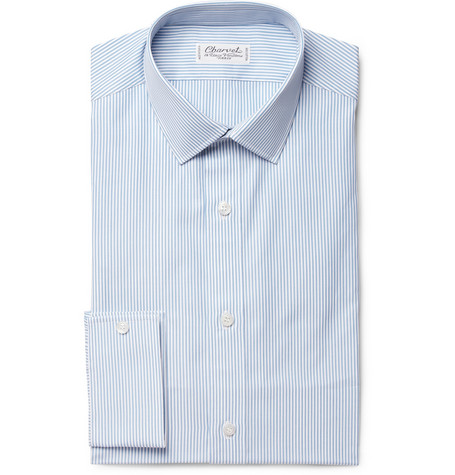 Charvet Blue Striped Cotton Shirt