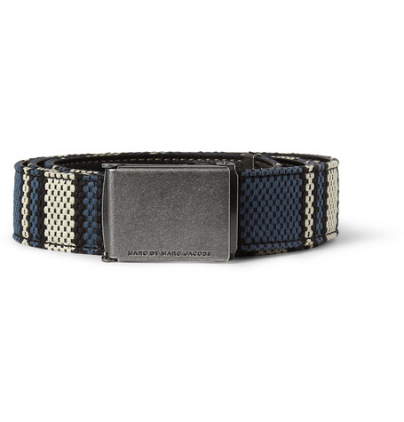 Marc by Marc Jacobs Sickle and Stripes Woven Cotton-Blend Belt