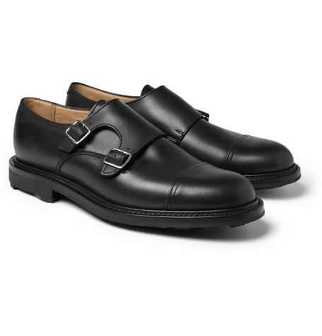Oliver Spencer Rubber-Sole Leather Double Monk-Strap Shoes