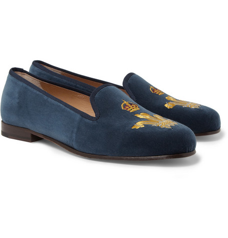 Stubbs & Wootton Earl Crest-Embroidered Velvet Slippers