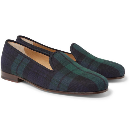 Stubbs & Wootton Black-Watch Plaid Slippers