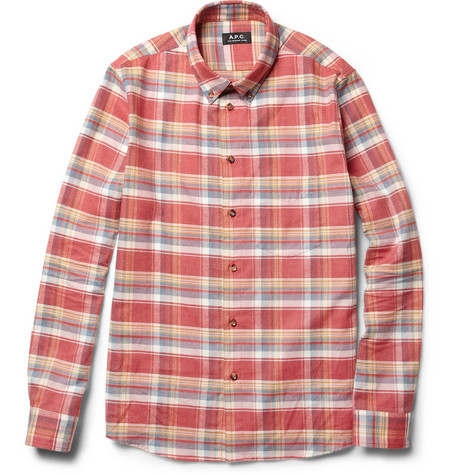 A.P.C. Check Cotton Button-Down Collar Shirt