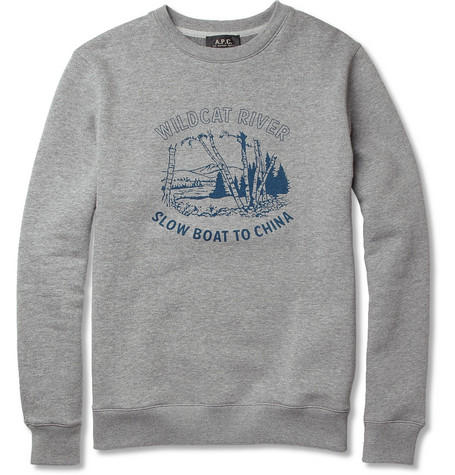 A.P.C. Molleton Printed Cotton-Blend Sweatshirt