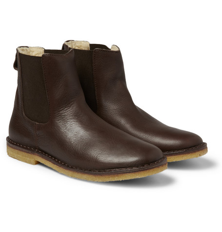 A.P.C. Shearling-Lined Leather Chelsea Boots