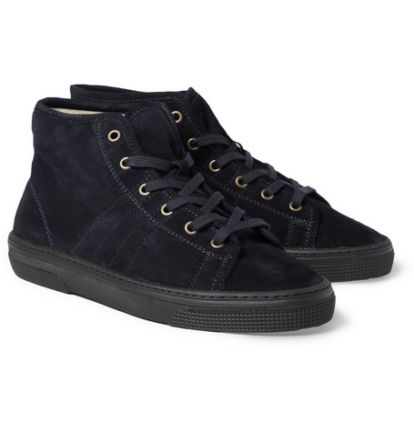 A.P.C. Shearling-Lined Suede High Top Sneakers