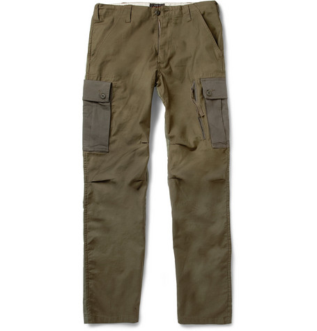 Beams Plus Colour-Block Cotton-Blend Cargo Trousers